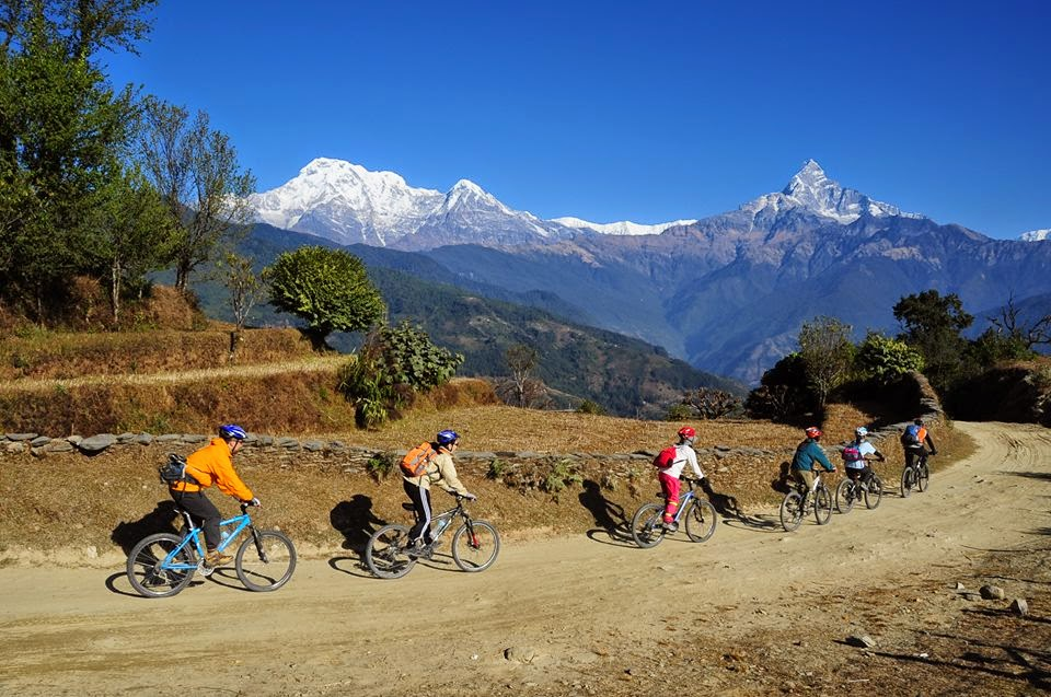Cycling in village of Pokhara